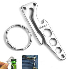 1pc Practical EDC Multi-function Stainless Steel keychains Clip Holder Beer Opener(China)