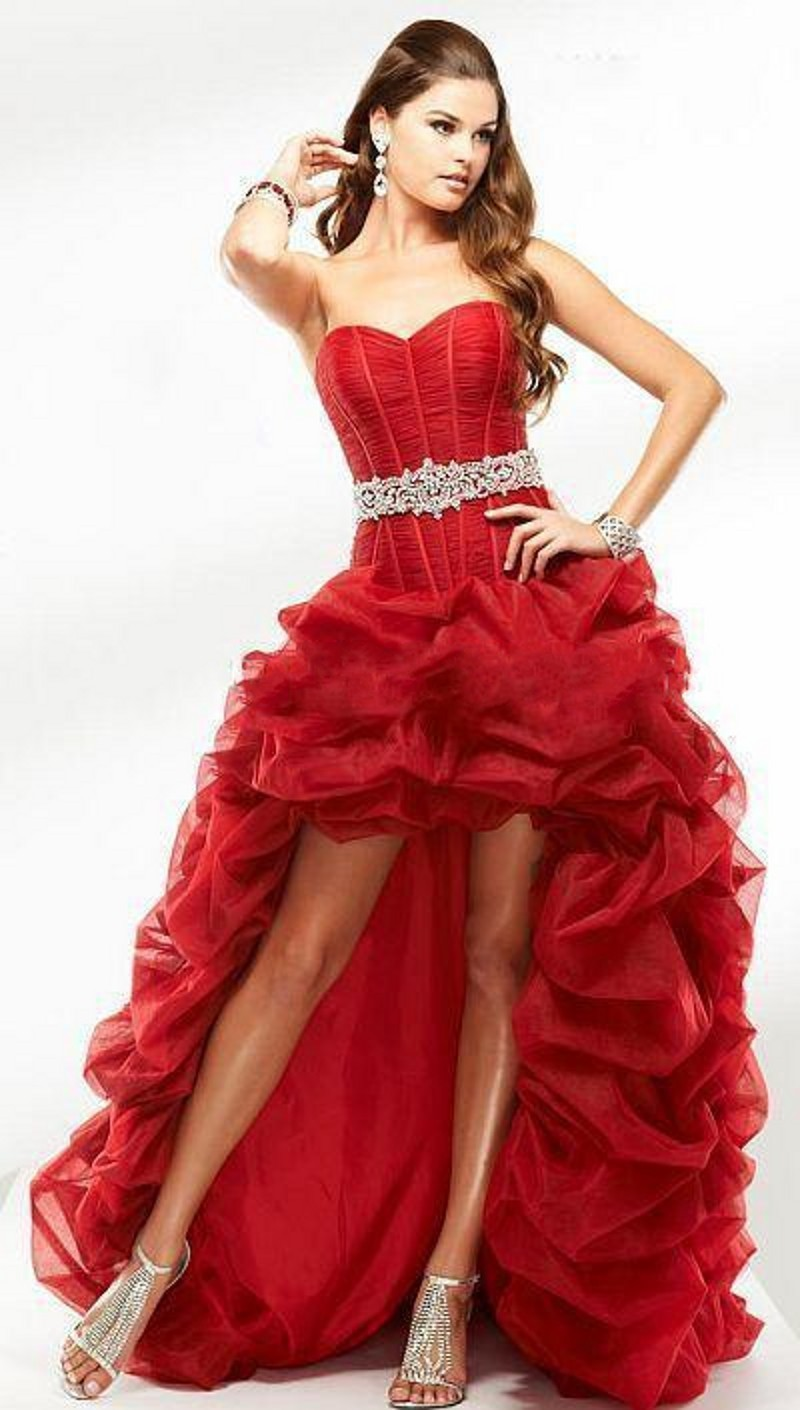 High Quality Red High Low Prom Dresses-Buy Cheap Red High Low Prom ...