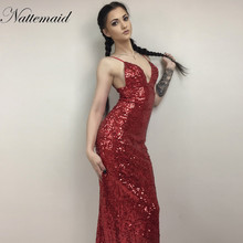 NATTEMAID 2017 New year Red sequined dress  Women Maxi long deep v neck robe Sexy Ladies Party Club dresses vestidos