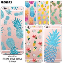 Ultra Thin Novelty Colorful Pineapple Design Phone Case For iPhone 6 Plus 6s Plus Transparent Silicone Phone Back Cover(China)