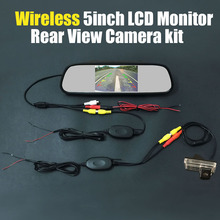 Review Wireless 5inch Mirror Monitor Car Rear View Backup Reverse Camera System Kits For Toyota Land Cruiser 120 Prado 2002~2009