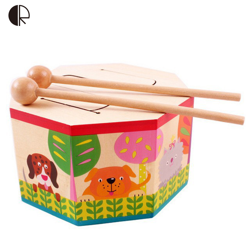 Kids Toys Wooden Drum For Early Education Musical Toys For Children Gift Toy Drum Musical Instruments For Baby HT191(China (Mainland))