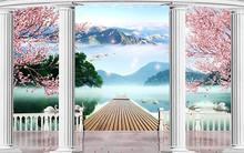 3d wallpaper custom mural non-woven Wall stickers 3 d mountain water landscape setting paintings 3d photo wall mural wallpaper(China)
