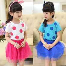 Fashion casual style 2015 cute kids girls summer polyester lace chiffon dresss red with dots for evening club party top sale