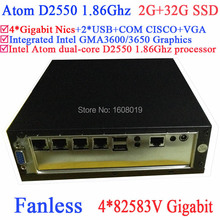 Fanless media center pc server Intel Atom dualcore D2550 1.86G 4*82583V Gigabit LAN Wake on LAN 12V 2G RAM 32G SSD Windows Linux