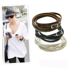 Unisex Womens Retro Vintage Vogue Wrap Cuff Bangle Lady Punk Multilayer Leather Rivet Stud Bracelet Casual Style Wholesale(China)