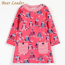 Bear Leader Girls Dress 2017New Autumn Girls Clothes European and American Style Cute Printing And Striped Design Kids Dress(China)