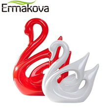 ERMAKOVA 2 Pcs/Pair Ceramic Swan Couple Model Figurine Animal Home Ornaments Porcelain Sculpture Wedding Gift Living Room Decor(China)