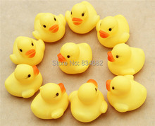 J.G Chen Free Shipping 20pcs/lot Bulk Mini 4x4cm Rubber Duck Baby Bath Toys Ducks PVC Educational Duck with Sound Floating Duck(China)