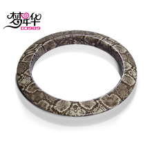 DreamCarnival 1989 Summer 2017 Resin Big Bangle Women Snake Skin Pattern Brown Color Trendy Holiday Jewelry Resina Braceletes