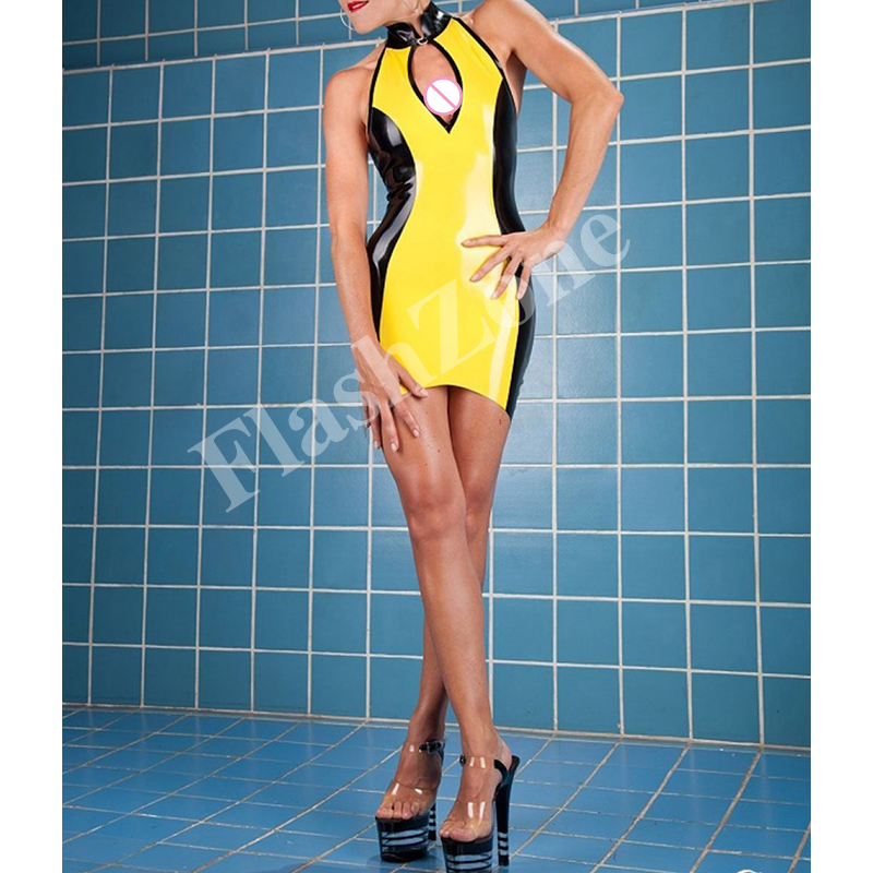Free shipping!! Women sexy backless garments rubber latex dress