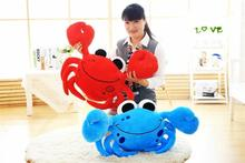 middle new creative crab toy lovely red or blue crab pillow doll about 65cm(China)