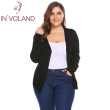IN'VOLAND Big Size XL-5XL Women Cardigan Tops Autumn V-Neck Long Sleeve Button Down Basic Slim Large Sweater Coat Plus Size(China)