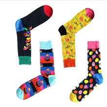 Hot Design Breathable Cotton Man In Tube Socks British Style Casual Bright Colours Fashion Novelty Socks For New Year Gift