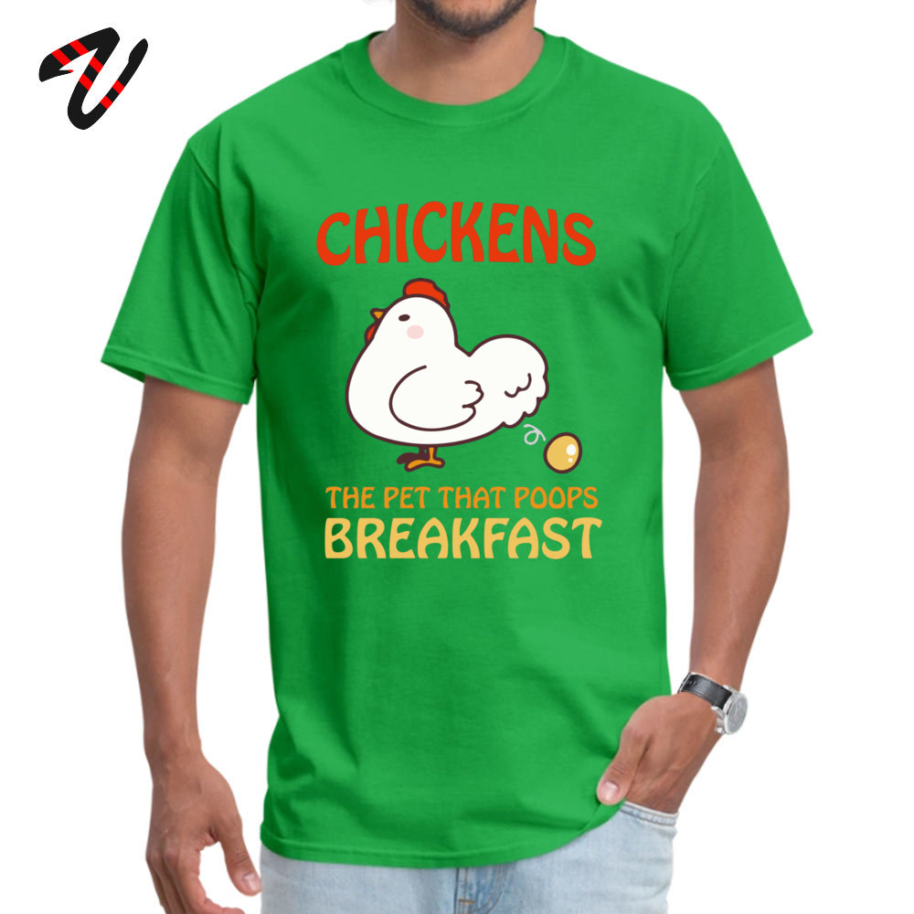 Design Prevalent Men's T-shirts Round Collar Short Sleeve 100% Cotton Fabric T Shirt Summer T Shirt Drop Shipping Chickens Pet That Poops Breakfast Funny Quote green