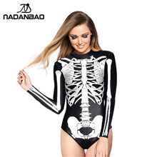 2017 Hot Style Loog Sleeve Zippered Surfing Bathing Suit White Skull Printed Women Swimwear One Piece Swimsuit Y02023(China)