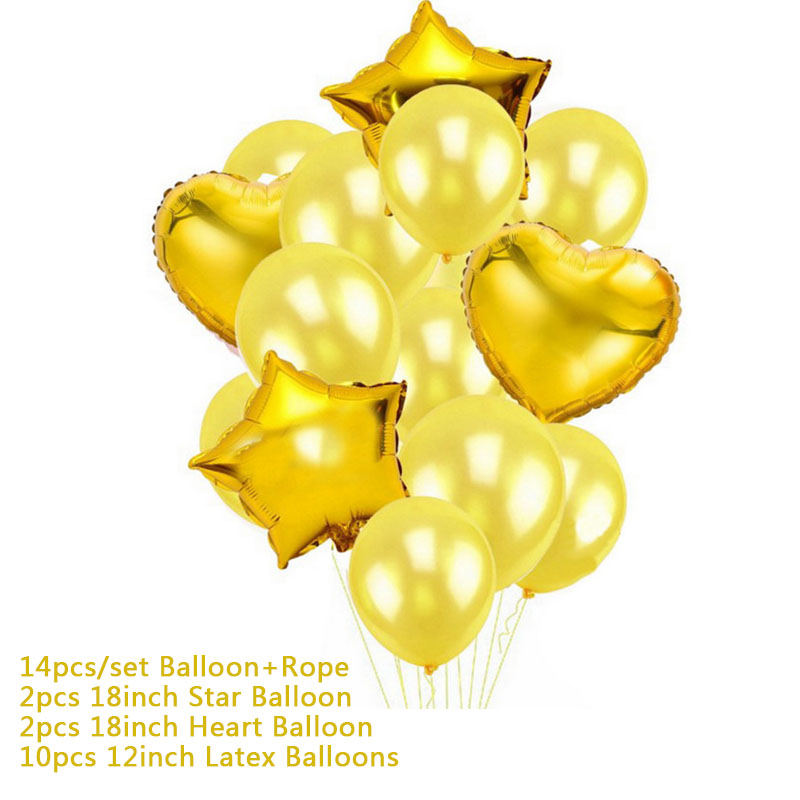 Hoomall 10/14PCs Confetti Air Balloons With Rope Heart Star Gold Champagne Latex Helium Balloon Wedding Decorations Party Supply 31