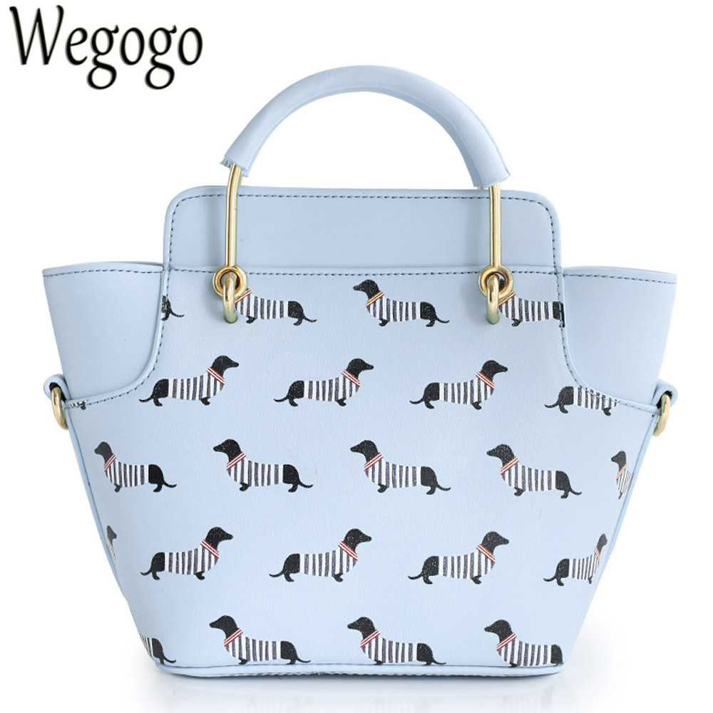 Women Handbag Animal Prints Dog Stripes Trapeze Lady Candy Color Faux Leather PU For Woman Navy Style Totes Cross Body Bags<br>