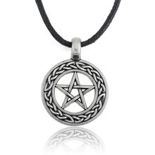 Minimal Religious Items Metal Zinc Alloy Vintage Star in a circle Jewish Pendant Necklace Jewelry(China)