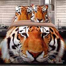 4Pcs 100% Cotton King of the Jungle Giant Tigers Queen Size 3D  Bedding set  Duvet Cover Set Bed Sheet PillowCases