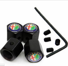BBQ@FUKA Black 4Pcs Anti-theft Style Car Badge Wheel Tire Valve Cap Tyre Dust Cap Fit For Alfa Romeo Mito Giulietta 159