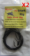 2 X Premium Quality Custom Design Shark Rig 2X6/0 S/S Hook 100lb Wire Trace For Fishing Special Offer with Free Postage