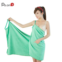 Sexy V Neck Women Beach Towel Soft Microfiber Fabric Pink Wearable Bath Towels Super Absorbent Girl Bathrobe 150x70cm Hot(China)
