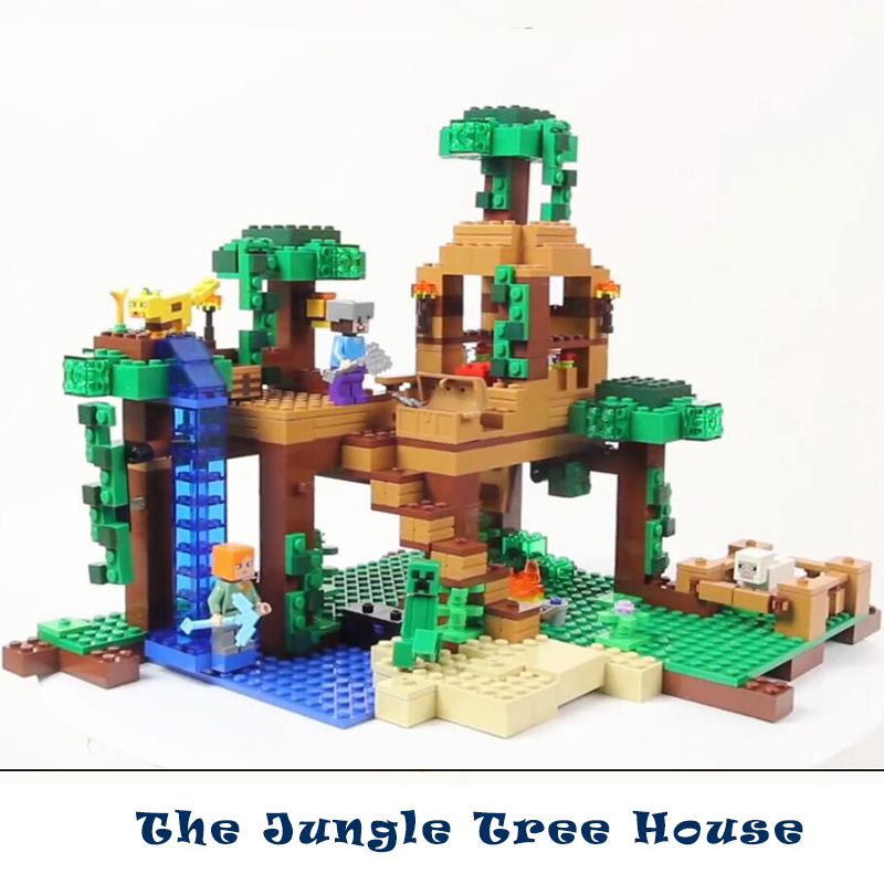 Model building kits compatible with lego my worlds Minecraft The Jungle Tree House model building toys hobbies for children<br>
