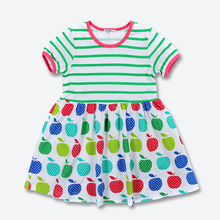 Green Stripe Apple Printed Girls Dress Summer Short Sleeve Baby Kids Dress Brand Good Quality Cotton Children's Clothes 2-6 yrs
