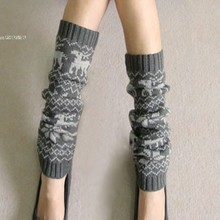 Women Winter Leg Warmer Down Boot Cuffs Knitting Gaiters Boot Socks Snowflake Deer Shape Leg Warmer Short Footless Knee Socks u2