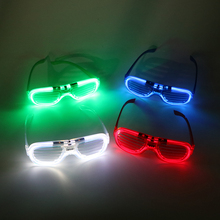 For Party Wedding Sunglasses 4 Color LED Light Up Flashing Blink Glow Glasses Shutter 3 Mode
