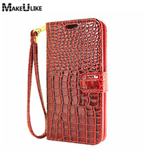MAKEULIKE Lanyard Wallet Case For Samsung Galaxy A7 2016 A710F Flip Cover Croc PU Leather Phone Bag Case For Samsung A7(2016)(China)