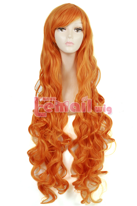 L-email wig 95cm Synthetic Hair Long Orange Curly Cosplay Wigs Synthetic Hair<br><br>Aliexpress