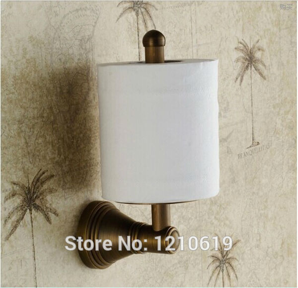 Newly US Free Shipping Wholesale And Retail Wall-mounted Vintage Antique Brass Toilet Paper Holder Roll Upright Tissue Shelf<br>