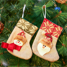 Christmas Decoration For Home Christmas Stockings Gift Bag Filler Santa Snowman Xmas Hanging Decoration(China)