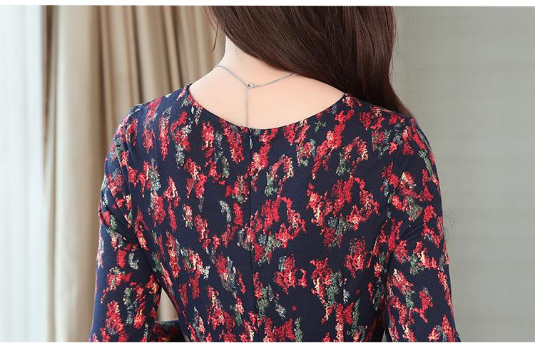 Autumn Winter New 3XL Plus Size Vintage Midi Dresses 2018 Women Elegant Bodycon Floral Dress Party Long Sleeve Runway Vestidos 47 Online shopping Bangladesh