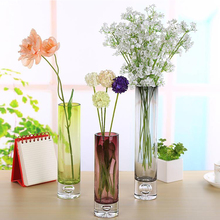 Creative colorful  Glass Vase Straight crystal glass purple /gray Terrarium Hydroponic Container Planter Pot Flower home decor