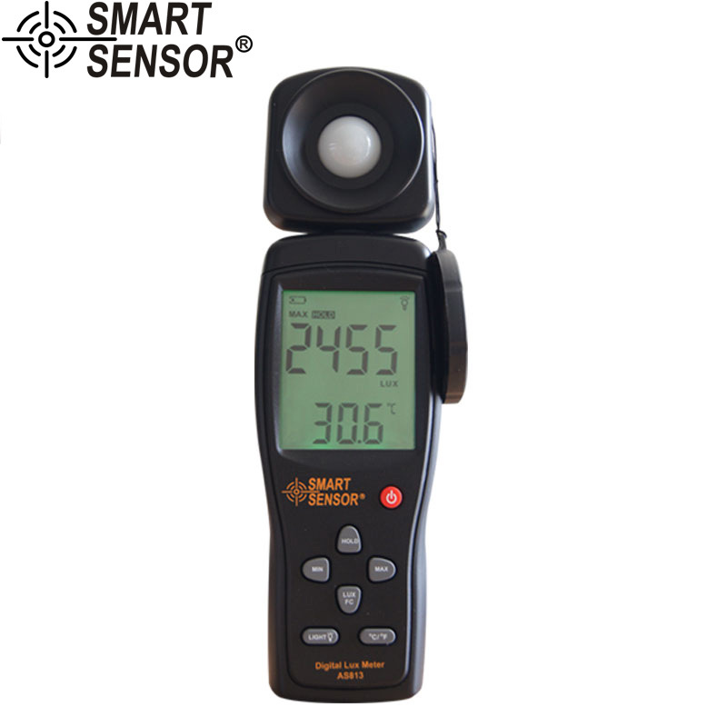 AS813 High Precision digital Lux Meter light meter Luminance tester Photometer range: 1-200,000Lux Measurement tool<br>