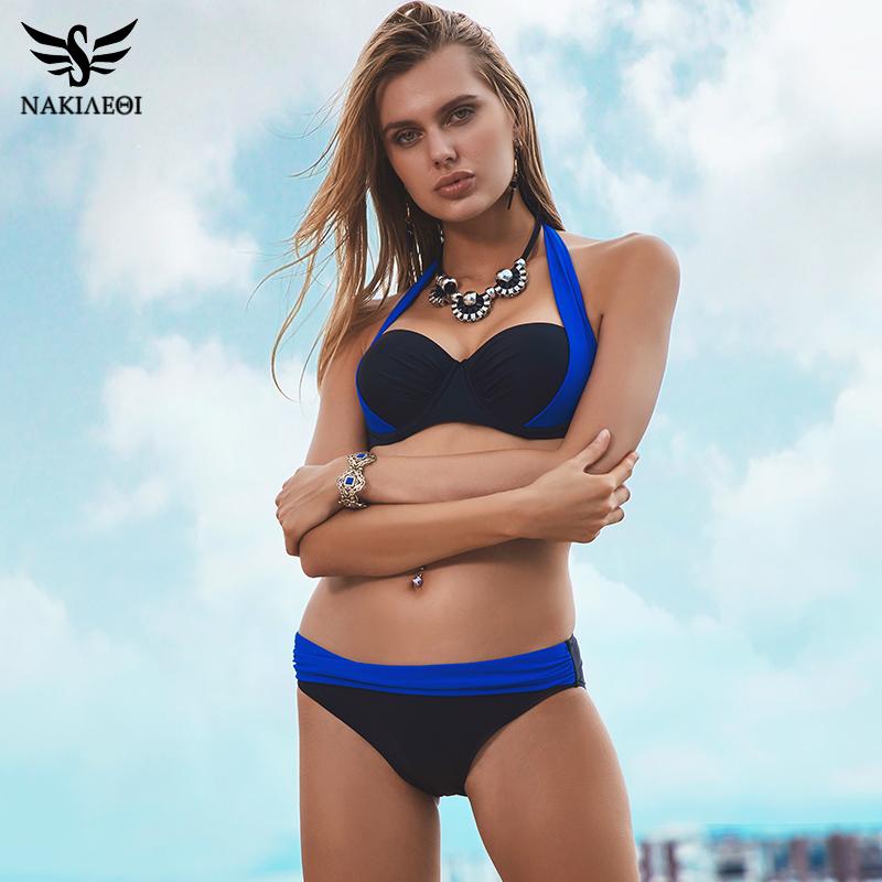 NAKIAEOI 19 New Sexy Bikinis Women Swimsuit High Waisted Bathing Suits Swim Halter Push Up Bikini Set Plus Size Swimwear 4XL 5