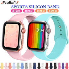 ProBefit soft Silicone Sports Band for Apple Watch 4 3 2 1 38MM 42MM Bands Rubber Watchband Strap for Iwatch series 4 40mm 44mm(China)