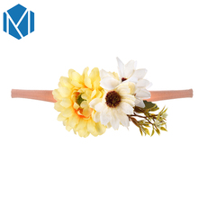 M MISM 1 PC Handmade Floral Headband Newborn Flower Crown Wedding Garland Hair Accessories Girls Elastic Hair bands Headwrap(China)
