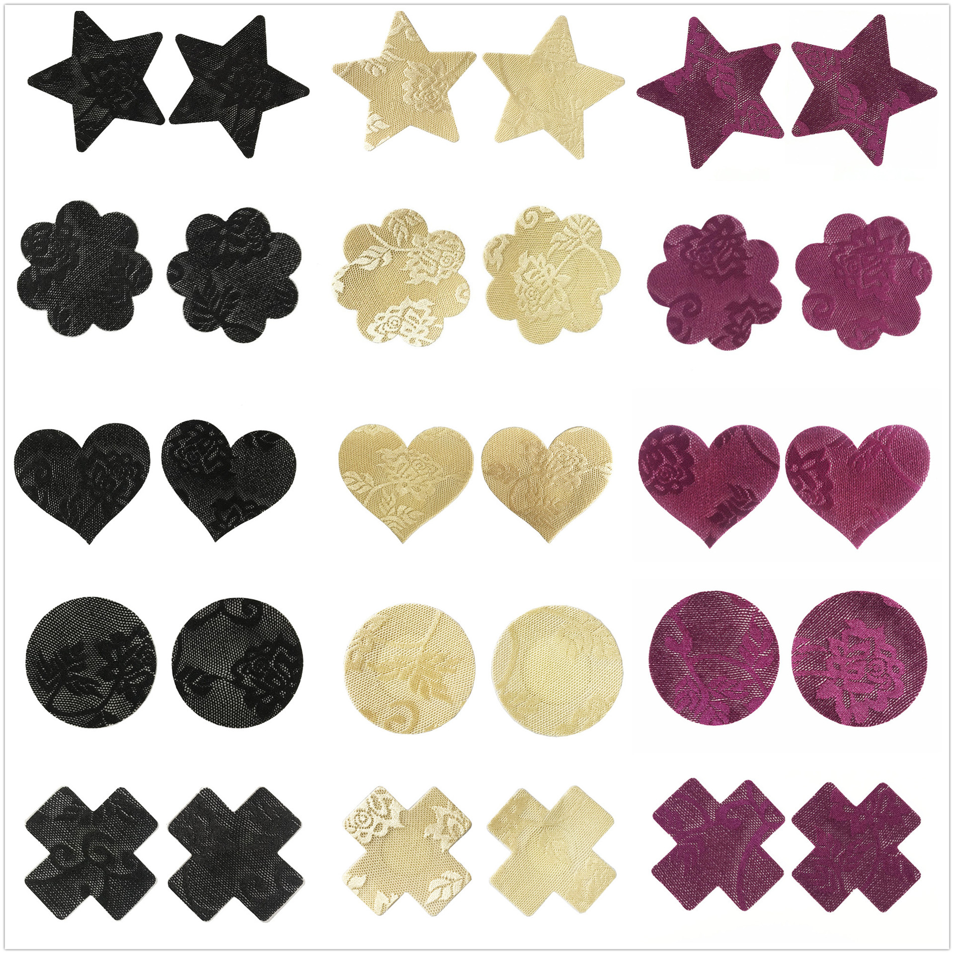 Ypser 15 Pairs Womens Pasties Disposable Satin Nipple Covers Pasty Bra Petals Breast Covers