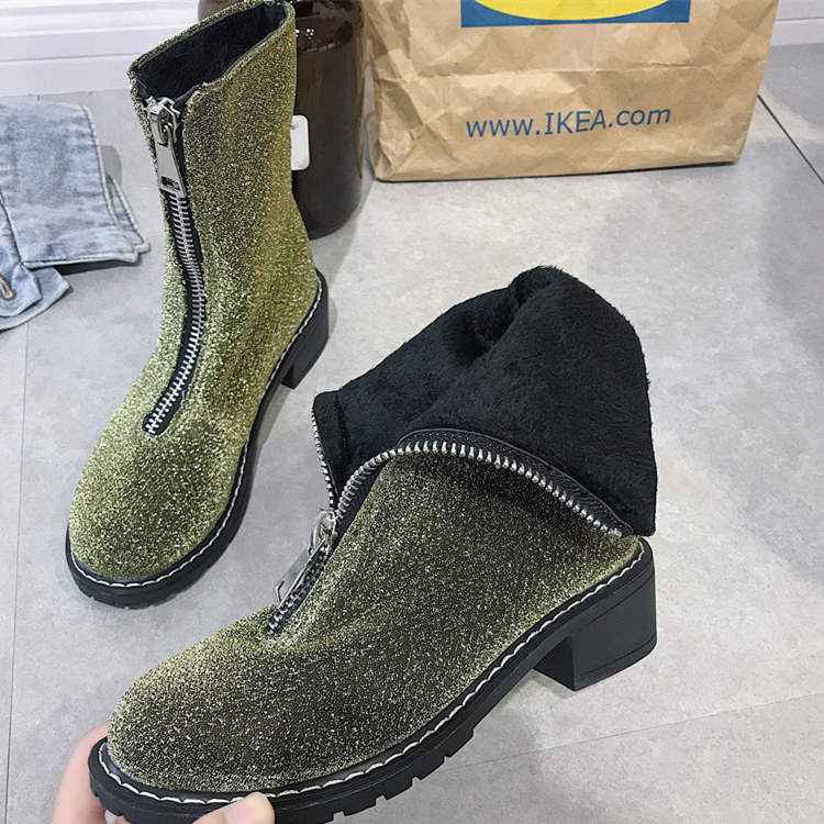 SWYIVY Woman Martin Boots Sequins Fashion Front Zipper 2018 Autumn Winter Female Nice High Top Snow Cotton Shoes Lady Snow Boots