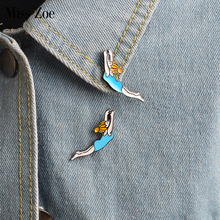Miss Zoe Cartoon Girl Synchronized Swimming Brooches Button Pins Denim Jacket Pin Badge LovelySports Jewelry Gift for Kids Girls(China)