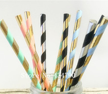 Free DHL 2000 pcs Pick Colors Paper Straws Bulk-Metallic Light Pink Blue Mint Black Gold Silver Foil Striped Party,New Years