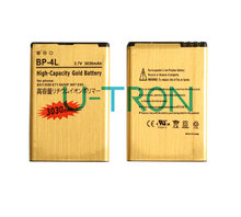 2pcs/lot 3030mAh BP-4L Gold Replacement Battery For Nokia E61i E63 E90 E90i 6650F N97 N97i E95 E71 E72 E73 E75 E52 E55 Batteries