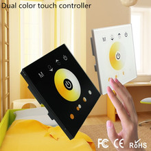 White or Black touch panel led controller,color temperature controller dual color adjustable wall mounted led controler,DC12-24V