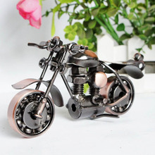 Retro Bronze Color handmade Metal Motorcycle Model Toys For kids birthday gift toy