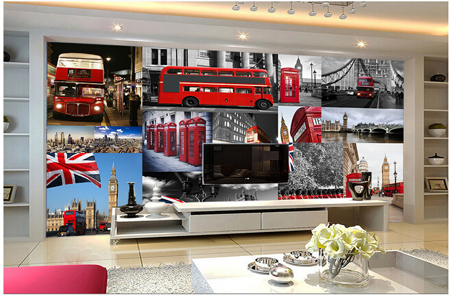 Custom retro wallpaper mural red London bus telephone booth for the living room TV wall vinyl wallpaper Papel de bedroom parede<br><br>Aliexpress