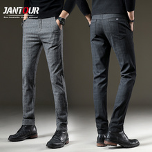 Jantour Brand 봄 Pants Men Casual Elastic 긴 Trousers Male 면 격자 straight gray 일 Pant men's 큰 size 28-38(China)